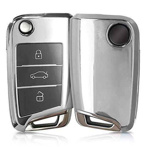 kwmobile Autoschlüssel Hülle für VW Golf 7 MK7 - TPU Schutzhülle Schlüsselhülle Cover für VW Golf 7 MK7 3-Tasten Autoschlüssel Hochglanz Silber
