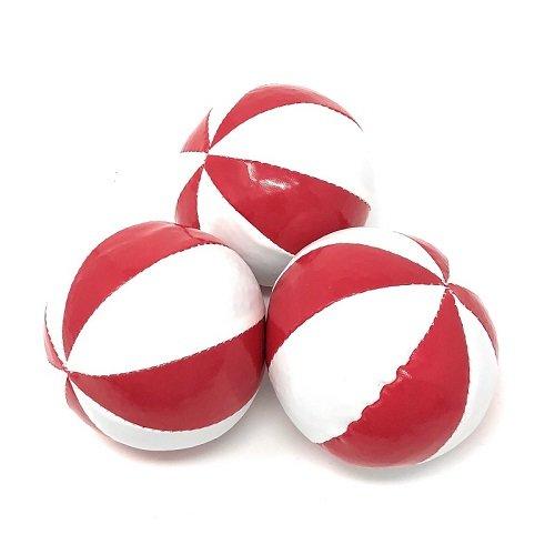 ビーンバッグジャグリングボール「8枚スター」ノーマルサイズ JUGGLE 4 FUN  (赤白, 3個セット)