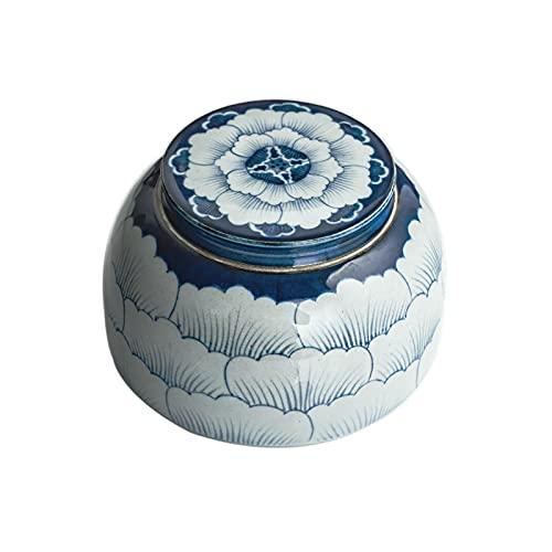 LIUTIAN Pot en céramique Antique en céramique Bleu et Blanc Peint à la Main rétro Bocal de Stockage de Stockage en céramique avec Couvercle scellé