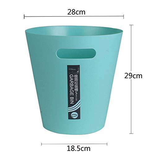Cesta de papel para el hogar 8.3L, Contenedor de almacenamiento para niños multicolor para la sala de estar del dormitorio, Contenedor de basura de plástico redondo-green
