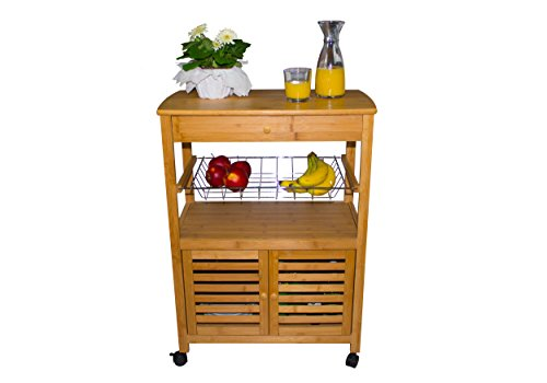 Sunny Times Küchenwagen Servierwagen Holz, HBT: 80 x 60 x 35 cm, Küchenrollwagen mit Schublade und Edelstahlkorb, Rollwagen und Küchentrolley, Bambus Natur