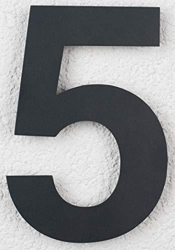 SEM Hausnummer 5 Edelstahl Pulverbeschichtet Anthrazit RAL 7016 16cm 160mm modern