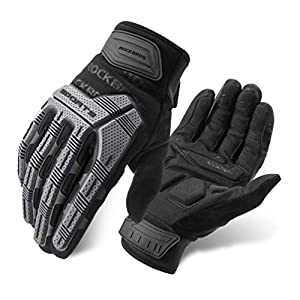 ROCKBROS Mountain Bike Gloves Dirt Bike Gloves Motorcycle Cycling Gloves with 6MM Gel Pad Touch Screen Knuckle Protection Gloves for BMX MX ATV MTB Racing Black-L