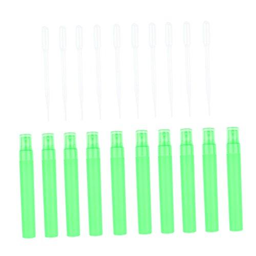 SM SunniMix Ensemble de 10x Bouteille de Parfum + 10x Ventouses Flacn Vide Jet bec de Parfum - Vert