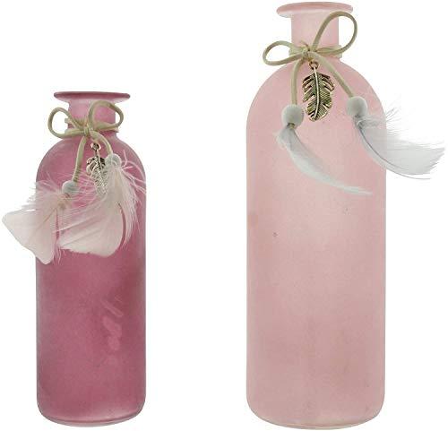 Dekoleidenschaft 2 Vasen in rosa Beeren-Tönen, verziert mit Federn, 16 und 20 cm hoch, Blumenvase, Tischvase, Vasen-Set
