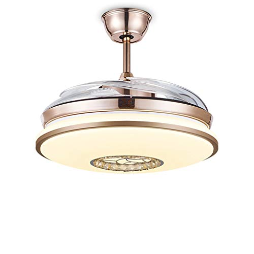 WDX- Ventilador de techo LED regulable ventilador de techo luz de ventilador de techo luz de restaurante sala de estar dormitorio ventilador de techo dorado luz durable (color: B)