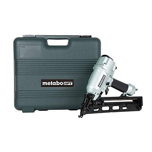 Metabo HPT Finish Nailer Kit, 15 Gauge, Pneumatic, Angled, Finish Nails 1-1/4-Inch up to 2-1/2-Inch, Integrated Air Duster, Selective Actuation Switch, 5-Year Warranty (NT65MA4)