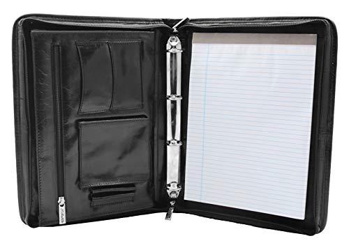 Real Leather Folio Underarm Bag Black Ring Binder A4 Pad Portfolio Organiser Arturo