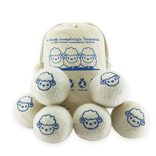 Tithoos Trocknerbälle für Wäschetrockner aus 100% umweltfreundlicher Schafwolle – wiederverwertbare Dryer Balls als natürlicher Weichspüler für Daunen