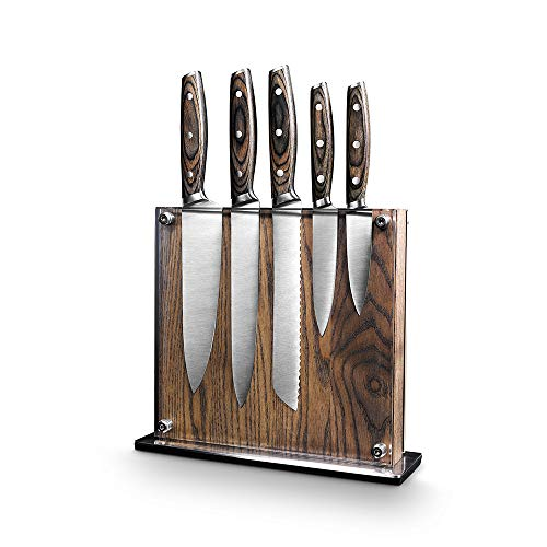 "Art and Cook Stainless Steel 5 Piece Knife Set with 1 Magnetic Block: 8"" Chef's Knife, 8"" Slicer Knife, 8"" Bread Knife, 5"" Utility Knife, 3.5"" Paring Knife, 1 Ash Wood Block"