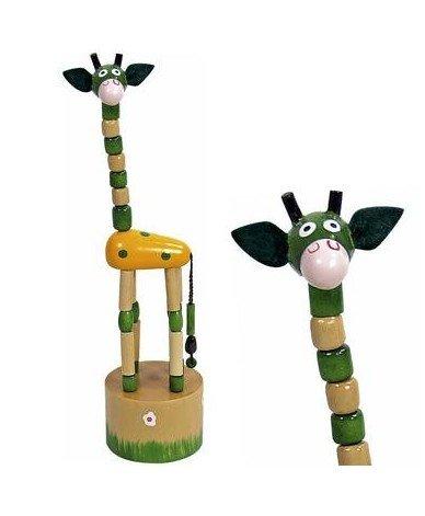 Ulysse Jouet Wakouwa en Bois Girafe Marionnette Animaux à Poussoir Enfant 3 Ans + - Vert