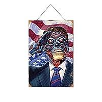 彼らはLivemondoモンスターアメリカ国旗敬礼木製のリストプラーク木の看板ぶら下げ木製絵画パーソナライズされた広告ヴィンテージウォールサイン装飾ポスターアートサイン