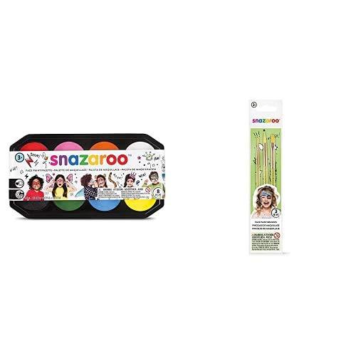 Snazaroo- Paleta de pintura facial, Multicolor (Colart 80818) + pinceles para pintura facial, color verde, Set de 3 (Colart 40500)