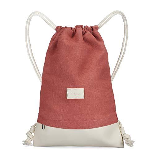 Dreyer Hipster rosa Turnbeutel – Canvas Baumwoll Beutel mit 3 großen Innentaschen – Sportbeutel/Gymbag für Damen & Herren aus robuster Baumwolle und veganem Leder