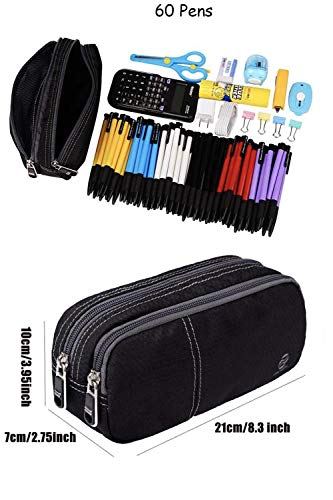 Pencil Case Large Pencil Pouch with Double Zippers for Middle High School Collage Office Student Boys Girl Adults 60 Pens Black by Only Warm Photo #3
