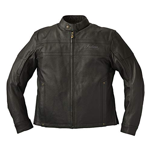 Indian Motorcycle Men's Leather Beckman Riding Jacket with Removable Lining, Black - XLT