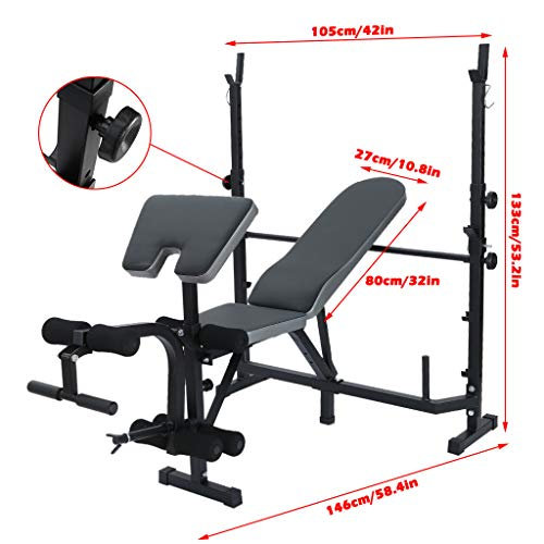 Standard Weight Bench, Adjustable Olympic Workout Bench with Squat Rack, Body Champ Exercise and Weightlifting Bench for Home Gym Strength Training