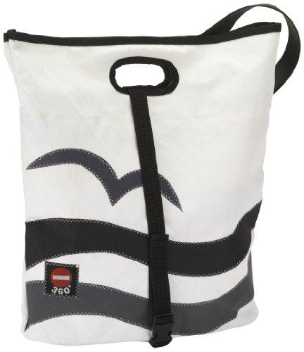 360° Vrouwen schoudertas zeildoek tas Tender zwart/wit, 46 centimeter