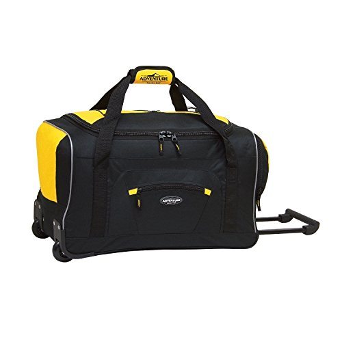 Travelers Club Adventure Rolling Duffel Carry-On Luggage, Black, Yellow