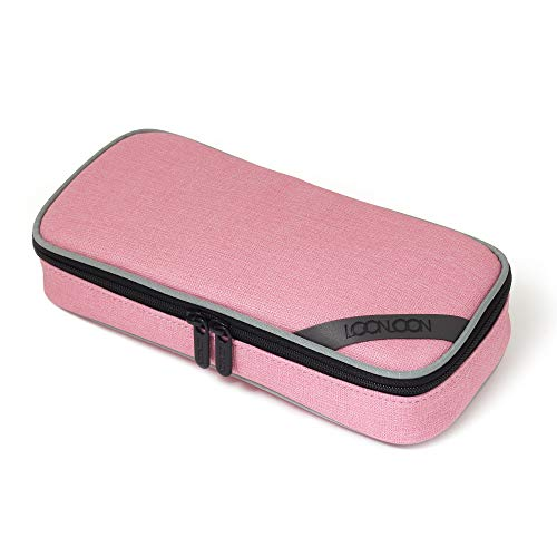 LOONLOON 667 Mellow Pencil Case (Sand Pink) - Multi Sections Pencil Case with Divider Panel