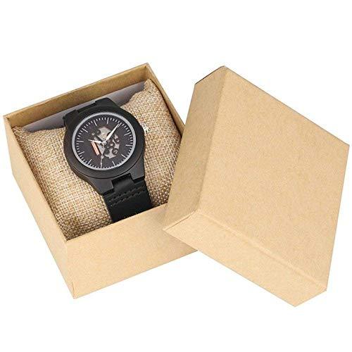 AZDS Reloj de Madera Minimalista para Mujer, Relojes de Madera Retro con núcleo Hueco, Reloj de Cuarzo, Cuero, Elegante, Reloj de Madera para Mujer, Regalo