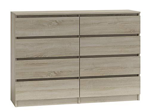Kommode mit 8 Schubladen Malwa M8, Mehrzweckschrank, Diele, Flur, Anrichte, Sideboard, Highboard, Wohnzimmer, Esszimmer (Sonoma)