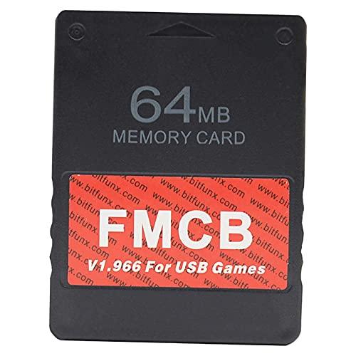 FLAMEER Tarjeta de Memoria, Compatible con PS2 PS1, Videojuegos Retro de Alta Velocidad, para Juegos HDD USB Fmcb V1.966, para Consola PS2, Mejor - 64 MB