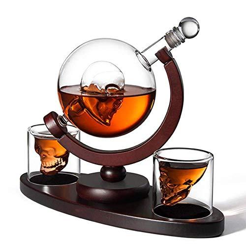 LEILEI Juego de decantadores de Whisky,con Base de Madera,2 Vasos de chupito y bandejas de Cubos LCE,dispensador de Licor para Licor,Vodka escocés,Bourbon,Familia,Oficina,Restaurante,exhibición de