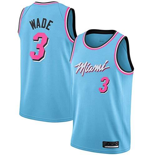 Maglia da Uomo, NBA Miami Heat 3# Wade Maglia Giocatore di Basket, Ricamo Traspirante e Resistente all'Usura T-Shirt
