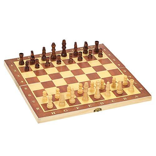 Roeam Schachspiel Holz, Internationales Schach Schachbrett Unterhaltungsspiel, Schachspiel mit Klappbrett, 30 x 30 cm