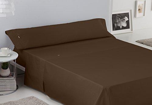 ESTELA - Juego de sábanas Lisos BIÉS 200 Hilos Color Chocolate (3 Piezas) - Cama de 150 cm. - 100% Algodón - 200 Hilos