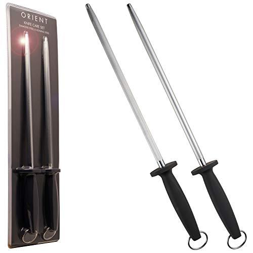 Wetzstahl mit Diamant-Beschichtung & Wetzstahl für Messer 2er Schärfstab 31cm Messerschärfer Stab 600 Körnung, Professionelle Wetzstab für Koch