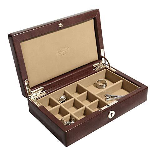 Dulwich Designs Windsor Manschettenknopf-Box aus Leder, Kastanienbraun