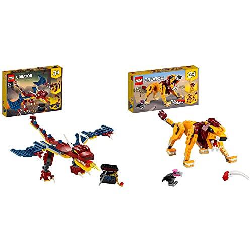 Lego 31102CreatorDragónLlameanteSetDeConstrucción3En1DientesDeSableOEscorpiónparaNiñosYNiñas + 7Años + 31112Creator3 En 1LeónSalvaje,AvestruzYJabalí, SetDeConstrucción