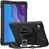 "ProCase Rugged Case for Lenovo Tab M10 HD 2nd Gen (TB-X306X) / Smart Tab M10 HD 2nd Gen (TB-X306F) 10.1"" 2020 Released, Heavy Duty Shockproof Cover Case with Hand Strap Rotating Kickstand –Black"