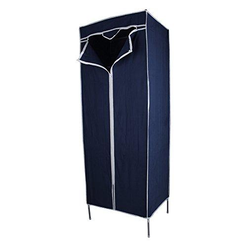 EBTOOLS Foldable Wardrobe, Canvas Standing Clothes Closet Space Saving Fabric Armoire Single Dress Storage Cupboard (Dark Blue)