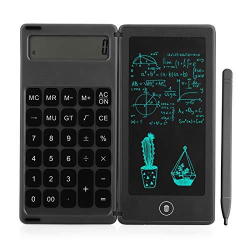Aibecy Calculadora plegable y tableta de escritura LCD de 6 pulgadas, almohadilla de dibujo digital, pantalla de 12 dígitos con lápiz óptico, función de bloqueo de botón de borrado