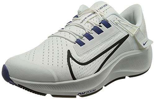 Nike W Air Zoom Pegasus 38 FLYEASE, Zapatillas para Correr Mujer, Summit White Black Dk Purple Dust Platinum Tint, 40 EU
