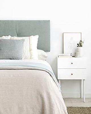 Bonito diseño: estel cabecero tapizado acolchado para pared es el complemento perfecto para tu habitación Gran calidad: tapizado de alta calidad Uso y medidas reales cabecero: para cama de 150, 165x52x3vcm (axhxd) Rápida instalación: la instalación d...