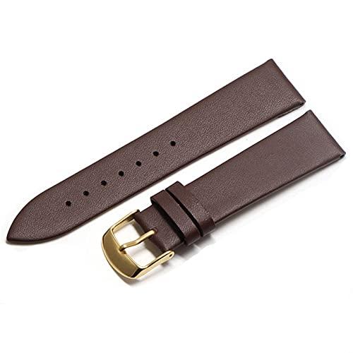 WZWS Correa Reloj Correa de Cuero 18 mm 20 mm 22mm Correa Reloj de Cuero (Band Color : Brown Gold, Band Width : 20mm)