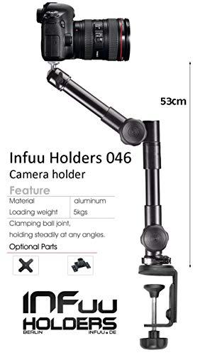 Infuu Holders 046 Halterung für Kamera Camcorder Video FotoStativ Ständer universal mit Tischklemme aus Metall