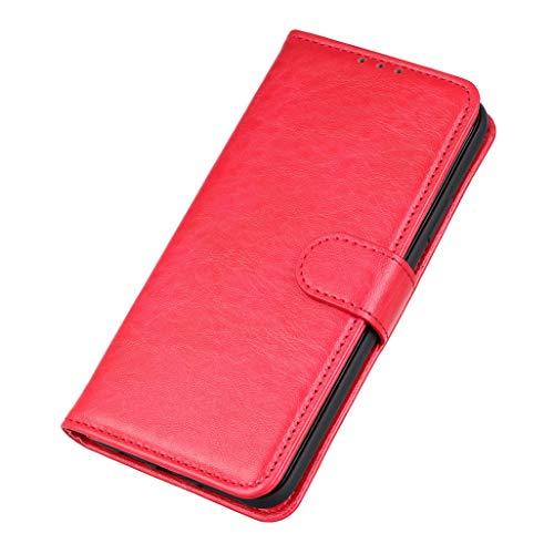 GOGME Cover per Xiaomi Redmi Note 9T 5G, Pelle Premium Chiusura Magnetica a Scatto con [Flip Stand/Card Slot] PU Portafoglio Custodia per Xiaomi Redmi Note 9T 5G Antiurto Cover, Rosso