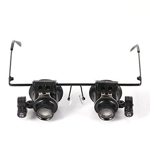 Winbang Lupa de reparación, gafas de lupa LED de cabeza desgastada Reloj de joyería ajustable iluminada Reparación de gafas tipo 20X