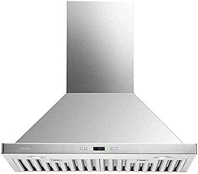 """CAVALIERE Range Hood 30"""" Inch Wall Mounted Brushed Stainless Steel Kitchen Hood Vent With, 6-Speed Touch Panel, Baffle Filters, 900 CFM"""