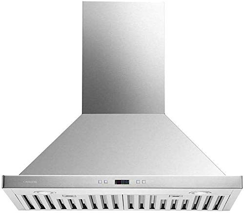 CAVALIERE Range Hood 30' Inch Wall Mounted Brushed Stainless Steel Kitchen Hood Vent With, 6-Speed Touch Panel, Baffle Filters, 900 CFM