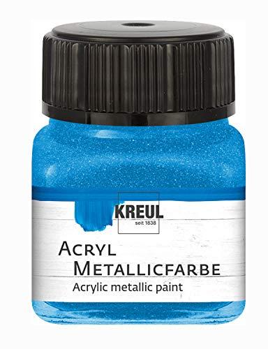 Kreul 77275 - Pintura acrílica metalizada, 20 ml, cristal azul, glamurosa pintura acrílica con efecto metálico a base de agua, cremosa opaca, secado rápido y resistente al agua