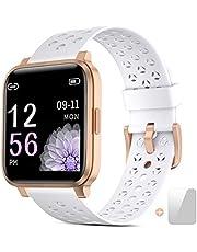 Smartwatch, fitnesstracker horloges met hartslagmeters, IP68 waterdichte activiteitstracker met touchscreen, voor dames en heren smart horloge met slaapmonitors, geschikt voor Android en IOS
