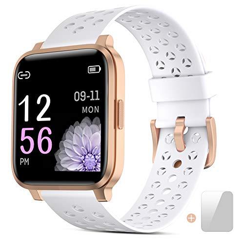 Zkcreation Smartwatch,1.3-Zoll Voll Touchscreen Fitness Armbanduhr mit Pulsmesser,Sportuhr Smart Watch, Fitness Tracker mit Schrittzähler,Schlafmonitor Musiksteuerung Stoppuhr für Damen Herren