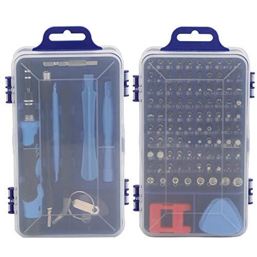 KUIDAMOS Destornillador bit Reloj Reparación de teléfono Precisión 17 Piezas Accesorios de extracción 115 en 1, Tableta, PC para Reparar Reloj, Consola de Juegos(Blue)