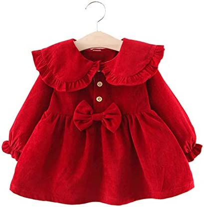 Toddler Baby Girl Sweater Dress Cute Kids Solid Ruffle Long Sleeve Dresses Top Fall Winter Warm product image